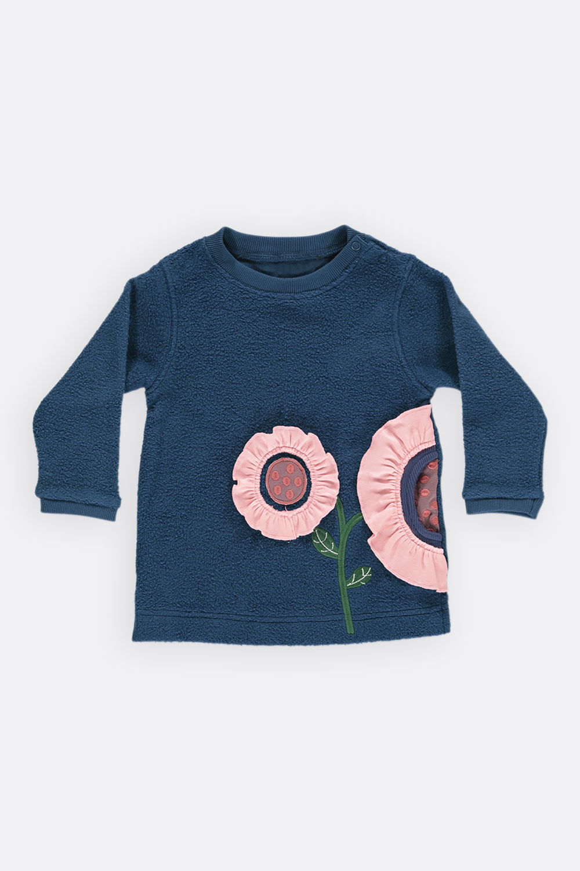 Baumwoll-Fleece Tunika Blume