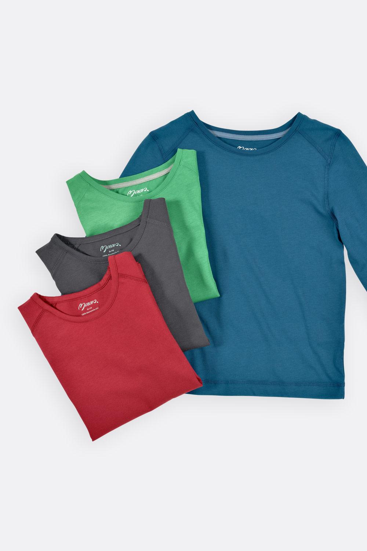 Basicshirt, Langarm, gerade Form