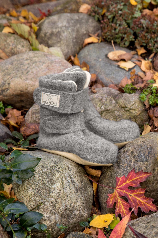 Wollwalk-Stiefelchen Klettverschluss