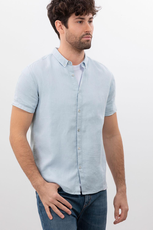 Herren Kurzarm Leinenhemd