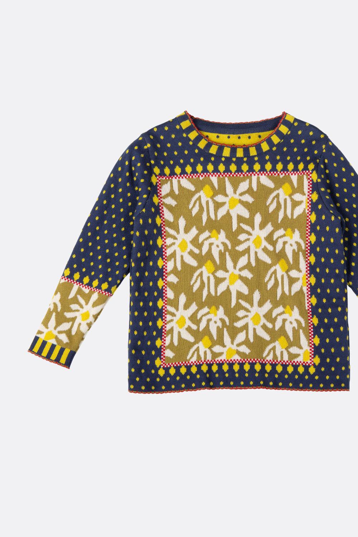 Jacquard-Pullover Blumen