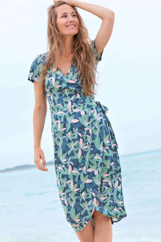 Jersey-Wickelkleid Lilien