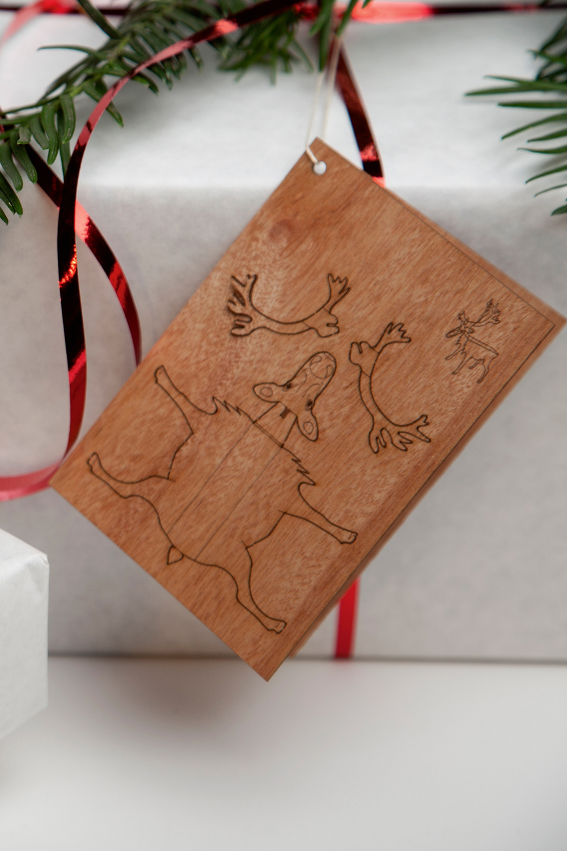 Holz-Postkartenset