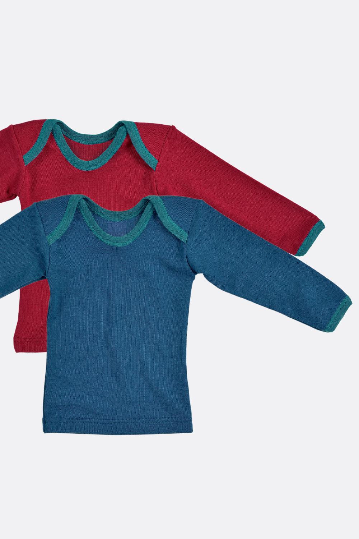 Wolle/Seide Shirt Kontrast-Einfass