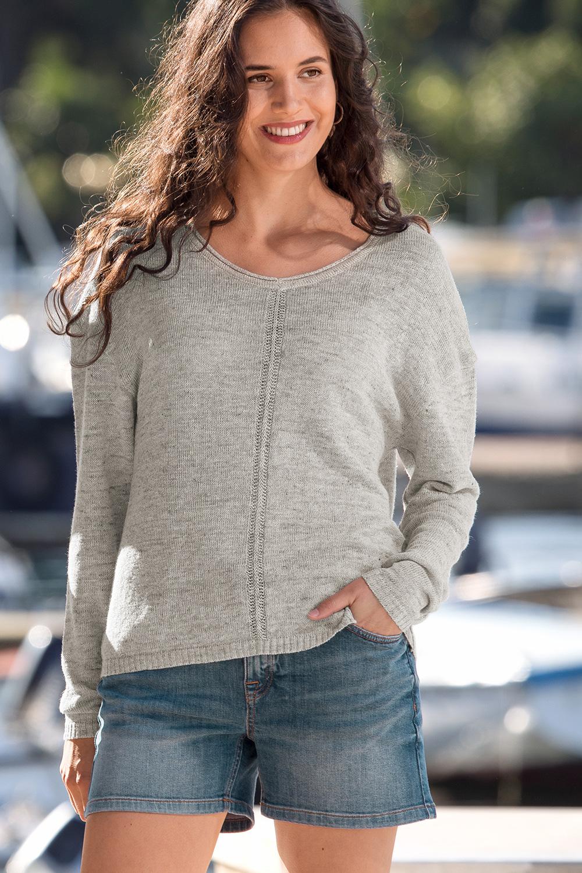 Leinen-Seiden Pullover