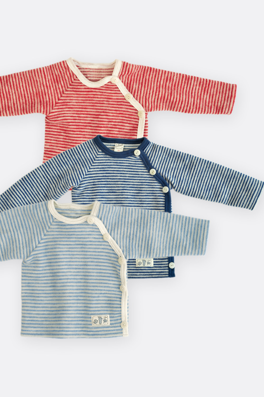 Ringel Wollfrottee Shirt mit Knopfleiste
