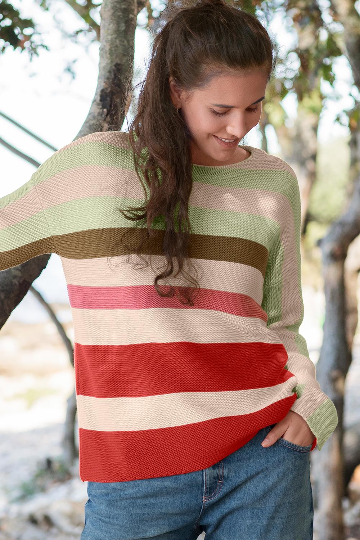Baumwoll Streifenpullover