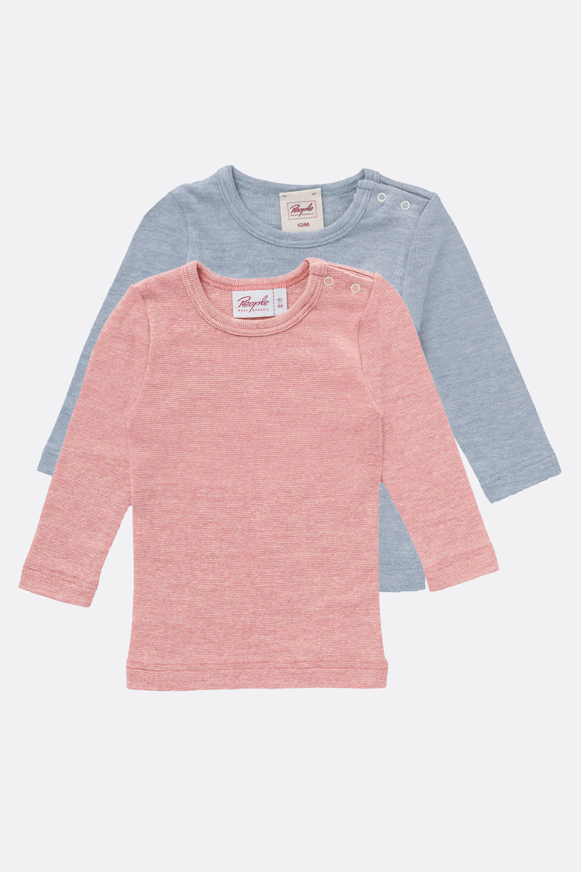 Baumwolle/Wolle/Seide Shirt, Langarm