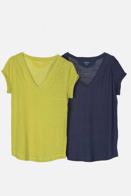 Leinen Shirt mit Schulterfalten